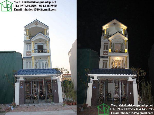 Hình ảnh ban ngày và ban đêm nhà phố 4 tầng NDNP4T7
