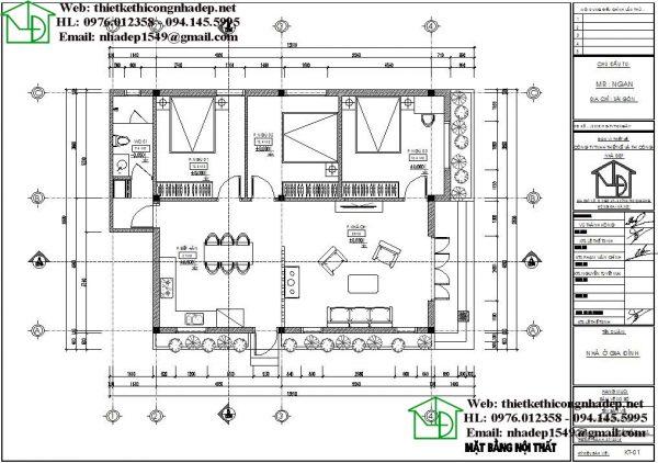 Mặt bằng bố trí nội thất nhà cấp 4 mái thái đơn giản NDNC468