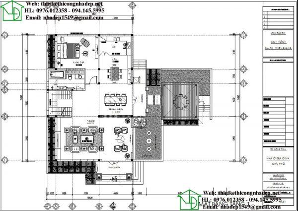 Mặt bằng bố trí nội thất tầng 1 NDBT2T49