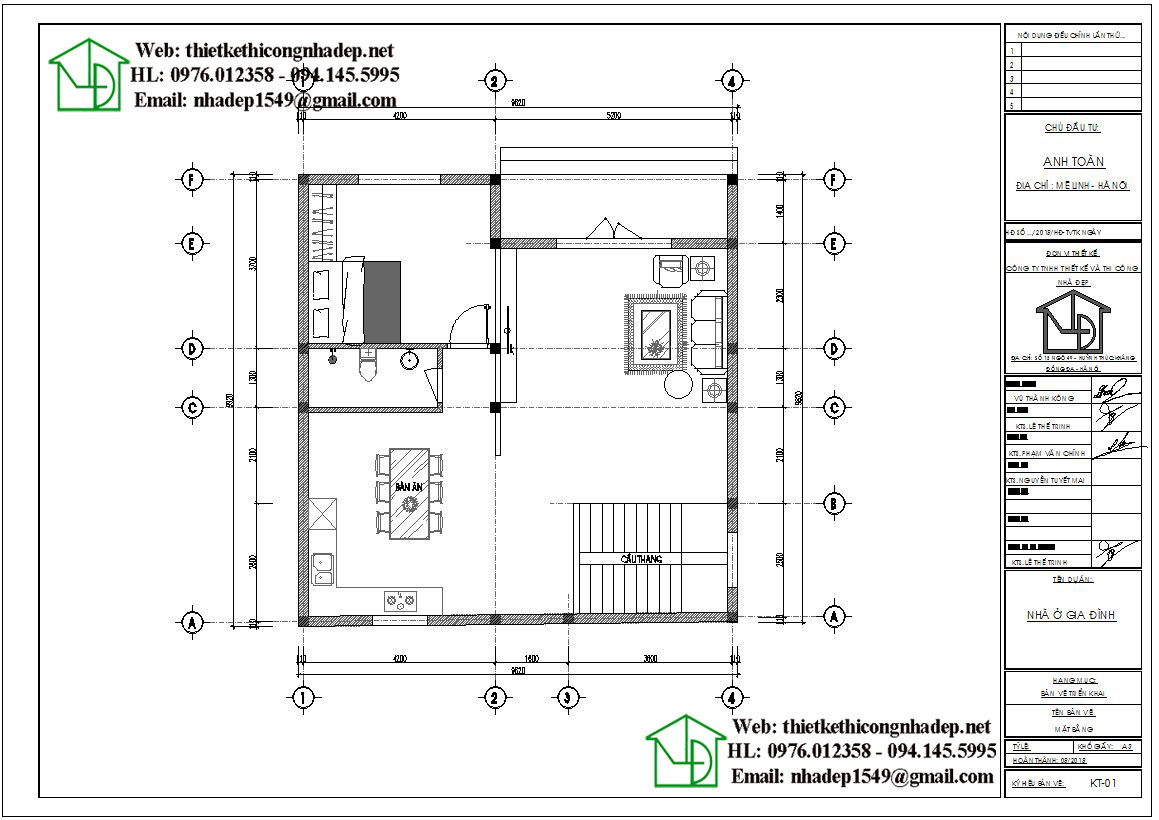 Mặt bằng nội thất tầng 1 biệt thự 2 tầng NDBT2T50