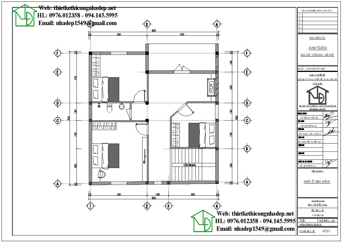 Mặt bằng nội thất tầng 2 biệt thự 2 tầng NDBT2T50