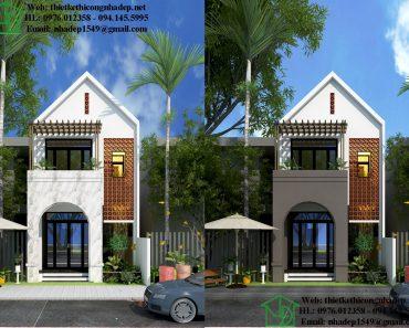 Mẫu nhà phố 2 tầng hiện đại mái thái NDNP2T6