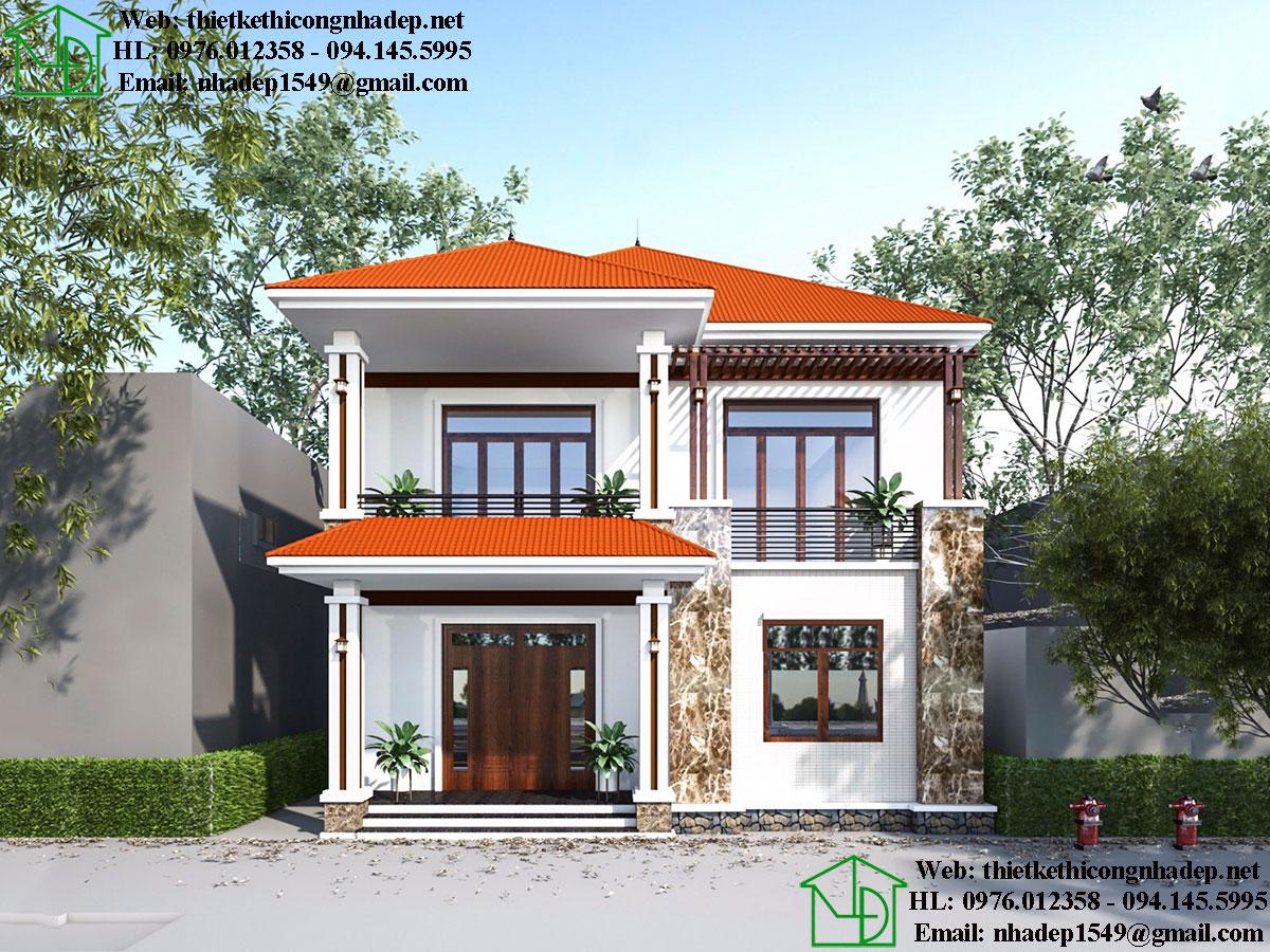 Thiết kế biệt thự 2 tầng hình vuông mái thái NDBT2T50