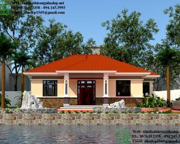 Thiết kế biệt thự nhà vườn 1 tầng mái thái DBT1T69