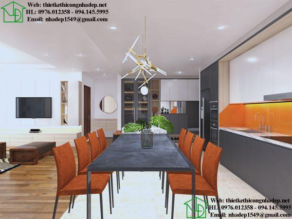 Thiết kế nội thất phòng bếp chung cư NDNTCC36