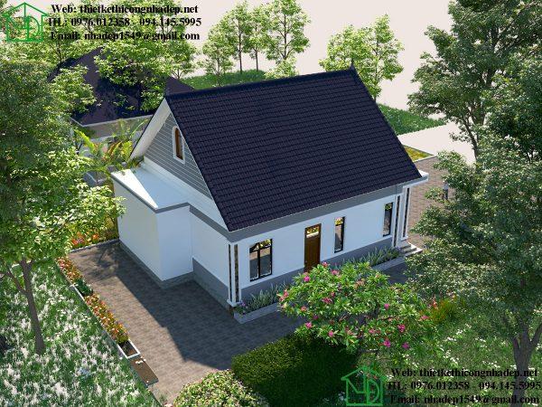 Thiết kế tổng thể nhà cấp 4 mái thái NDNC468