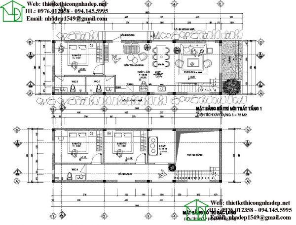 Mặt bằng bố trí nội thất nhà cấp 4 gác lửng NDTKNT5