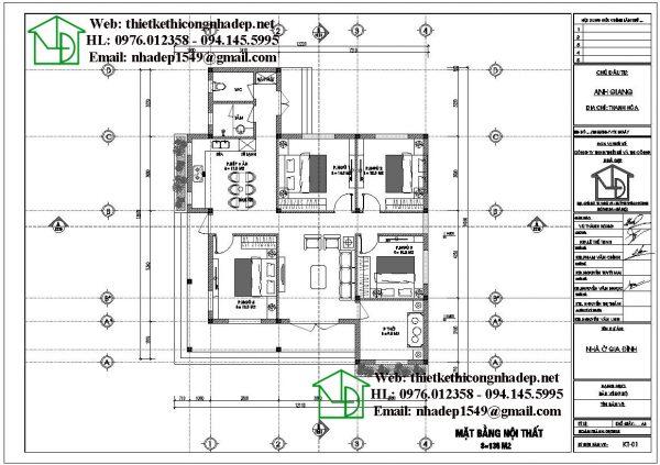 Mặt bằng bố trí nội thất nhà vườn 1 tầng mái thái DBT1T71