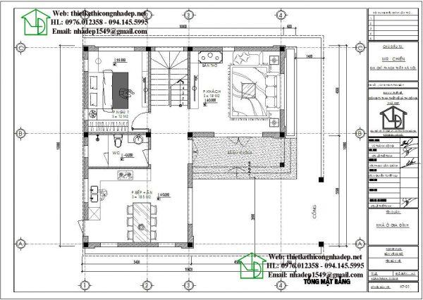Mặt bằng bố trí nội thất tầng 1 NDBT2T53