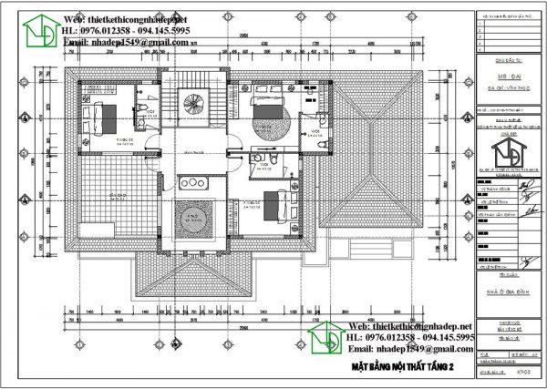 Mặt bằng tầng 2 biệt thự 2 tầng 300m2 NDBT2T54
