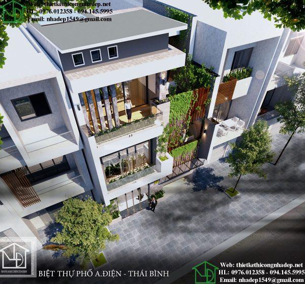 Phối cảnh tổng thể biệt thự phố 4 tầng NDNP4T9