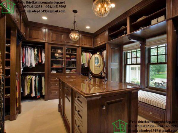 Phòng thay đồ bằng gỗ tự nhiên NDNTPN3