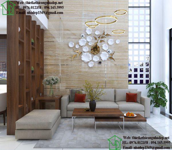 Sofa phòng khách nhà cấp 4 gác lửng đẹp NDTKNT5