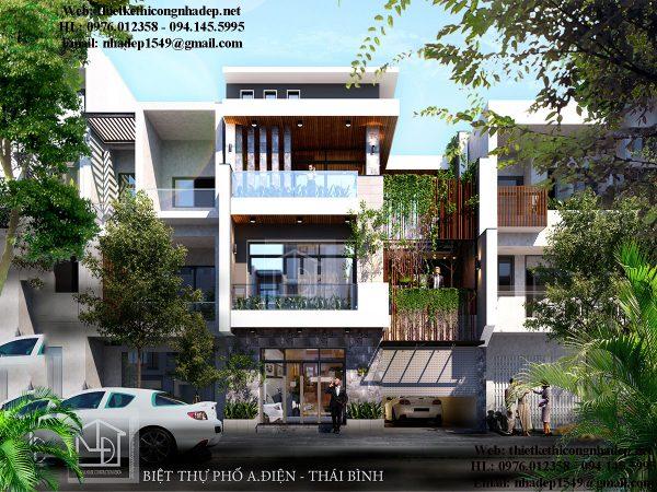 Thiết kế biệt thự phố 4 tầng NDNP4T9