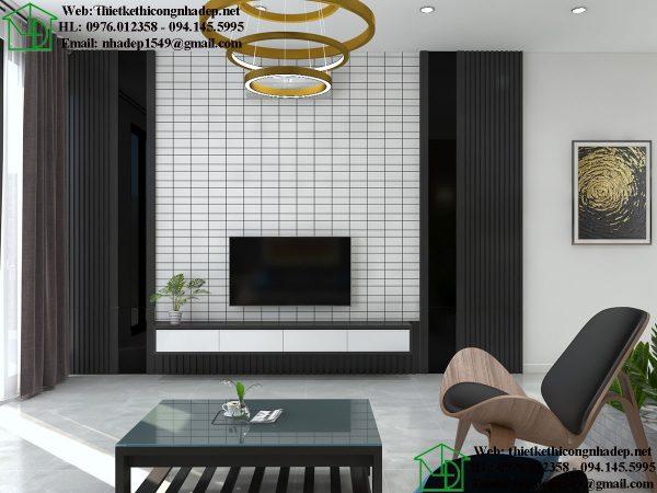 Thiết kế kệ tivi phòng khách đẹp NDTKNT4