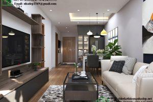 Thiết kế nội thất phòng khách chung cư 80m2 NDNTCC37