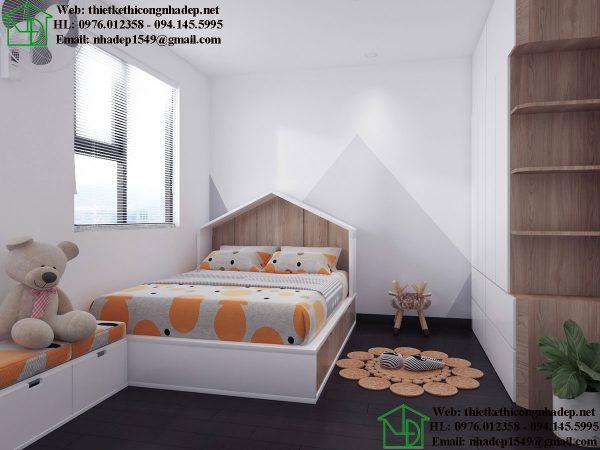 Thiết kế nội thất phòng ngủ bé gái NDNTCC39