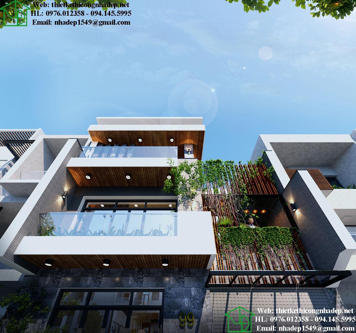 Thiết kế thi công biệt thự phố 4 tầng NDNP4T9