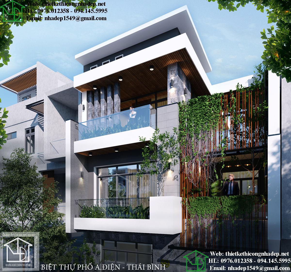 Thiết kế thi công biệt thự phố hiện đại NDNP4T9