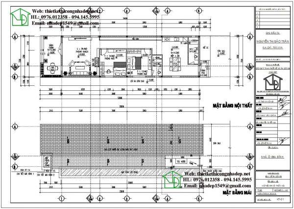Mặt bằng bố trí nội thất nhà cấp 4 gác lửng giá rẻ NDNC471