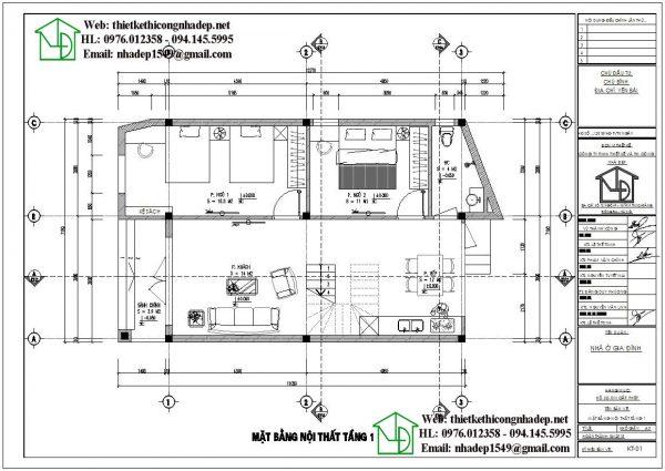 Mặt bằng bố trí nội thất tầng 1 mẫu nhà 2 tầng mái bằng NDMN2T11