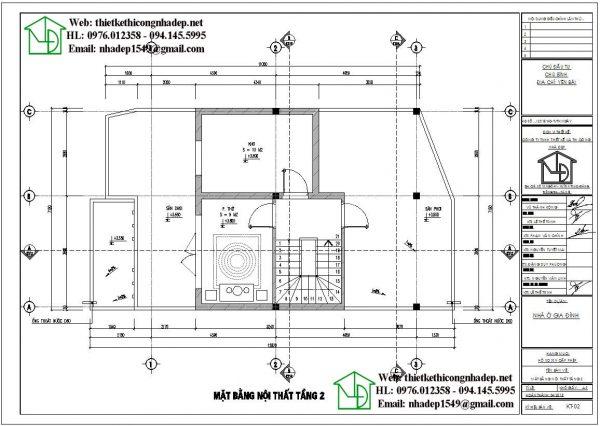 Mặt bằng bố trí nội thất tầng 2 mẫu nhà 2 tầng mái bằng NDMN2T11
