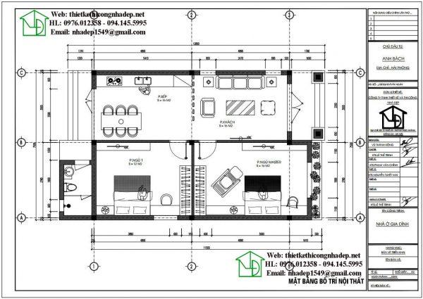 Mặt bằng nội thất mẫu nhà thái 1 tầng DBT1T73