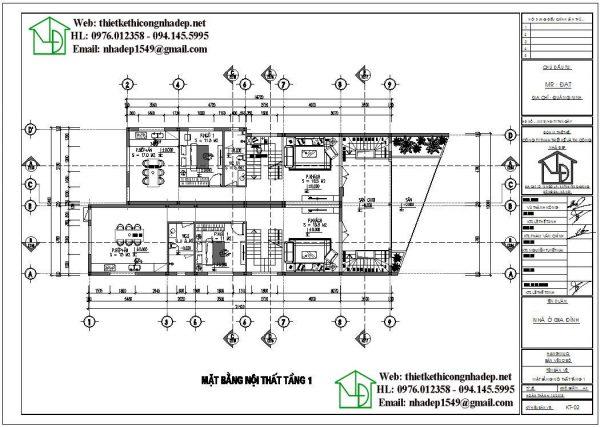 Mặt bằng tầng 1 biệt thự phố 2 tầng đẹp NDBT2T55