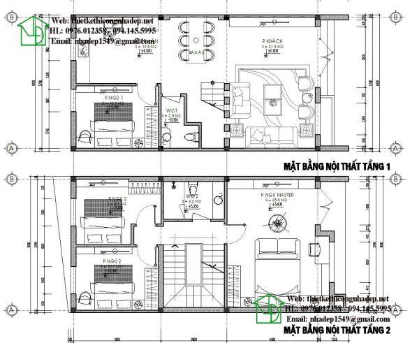 Mặt bằng tầng 1, tầng 2 nhà phố 6x12m NDNP3T20