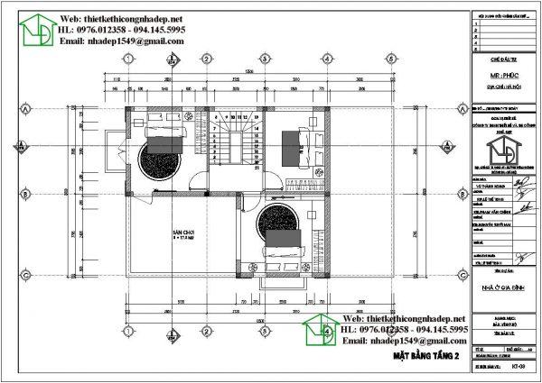 Mặt bằng tầng 2 nhà 2 tầng kiểu thái 8x12m NDBT2T56