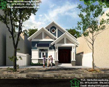 Thiết kế biệt thự 1 tầng mái thái đẹp NDBT1T73