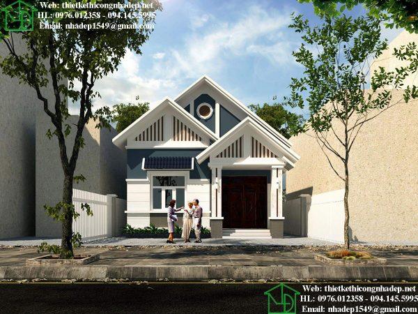 Thiết kế biệt thự 1 tầng mái thái đẹp DBT1T73