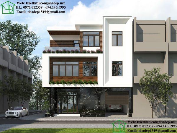 Thiết kế biệt thự phố hiện đại NDBT3T12