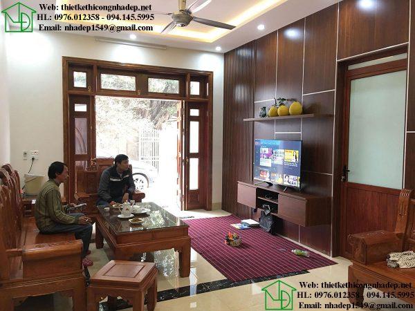 Thiết kế nội thất phòng khách biệt thự vườn 1 tầng DBT1T60