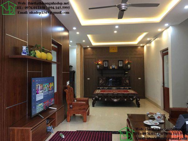 Thiết kế nội thất phòng thờ biệt thự 1 tầng DBT1T60