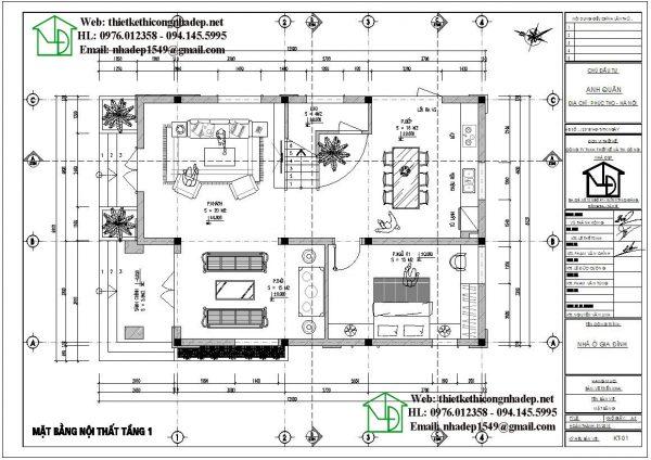 Mặt bằng bố trí nội thất tầng 1 biệt thự 2 tầng NDBT2T59