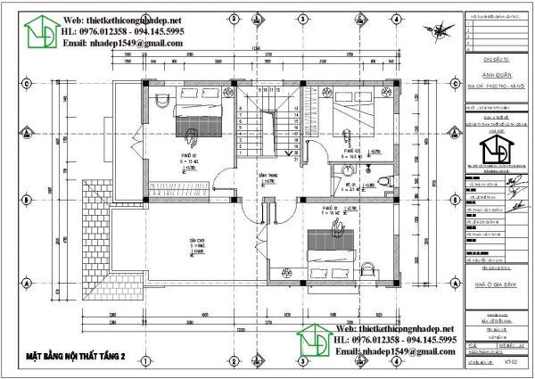 Mặt bằng bố trí nội thất tầng 2 biệt thự 2 tầng NDBT2T59