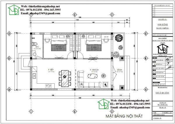 Mặt bằng nội thất mẫu nhà cấp 4 70m2 NDNC474