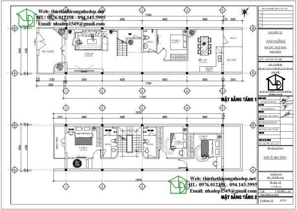 Mặt bằng nội thất tầng 1 tầng 2 nhà phố 3 tầng NDNP3T21