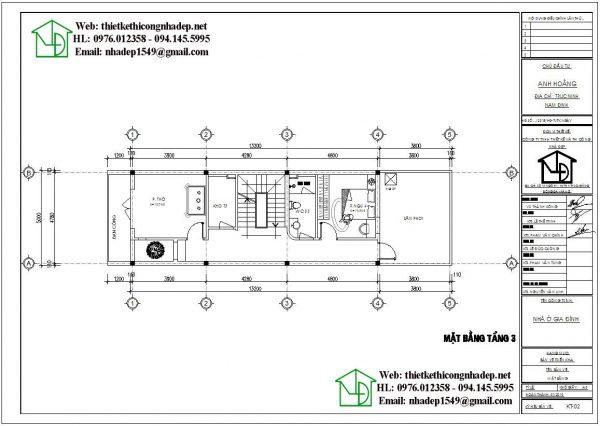 Mặt bằng nội thất tầng 3 nhà phố 3 tầng NDNP3T21