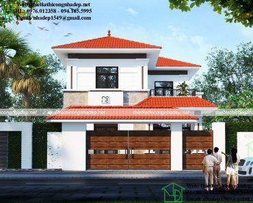 Mặt tiền mẫu thiết kế nhà 2 tầng mái ngói NDBT2T59