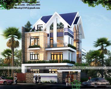 Mẫu thiết kế biệt thự 3 tầng đẹp tại Hải Dương NDBT3T13
