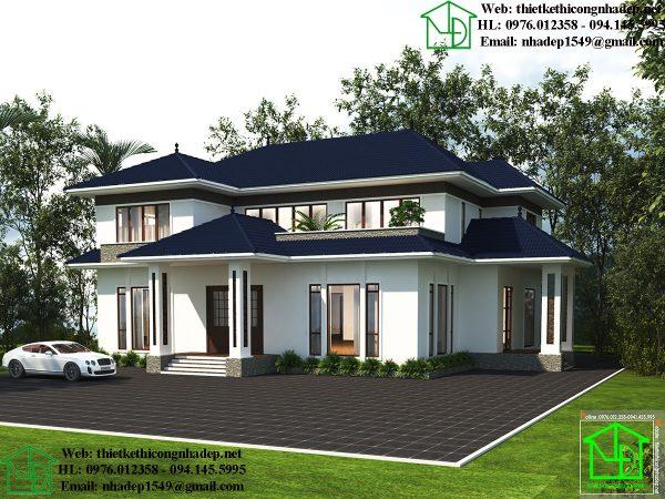 Thiết kế biệt thự 2 tầng 20x23m NDBT2T58