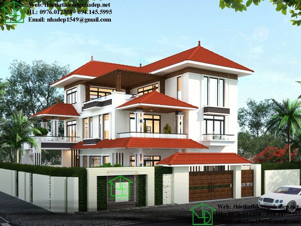 Thiết kế biệt thự vườn đẹp tại Phú Thọ NDBT3T14