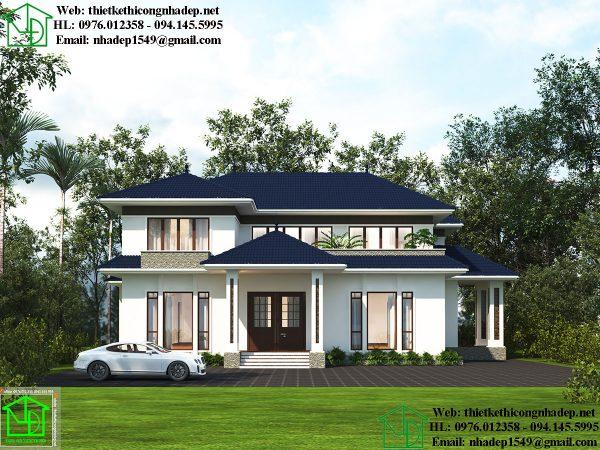 Thiết kế mẫu biệt thự hiện đại 2 tầng NDBT2T58
