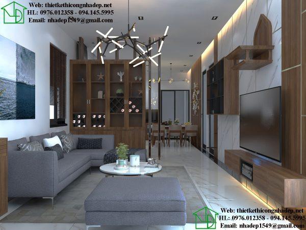 Thiết kế nội thất phòng khách mẫu nhà cấp 4 70m2 NDNC474