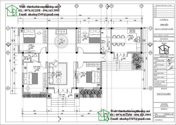 Mặt bằng bố trí nội thất biệt thự 1 tầng NDBT1T78