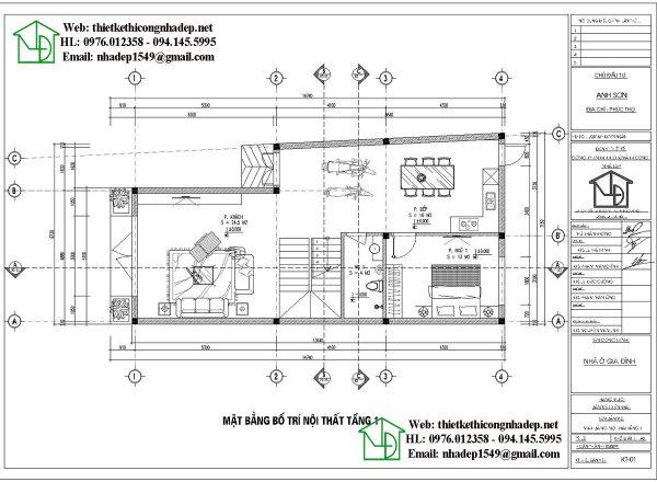 Mặt bằng nội thất tầng 1 NDNP3T22