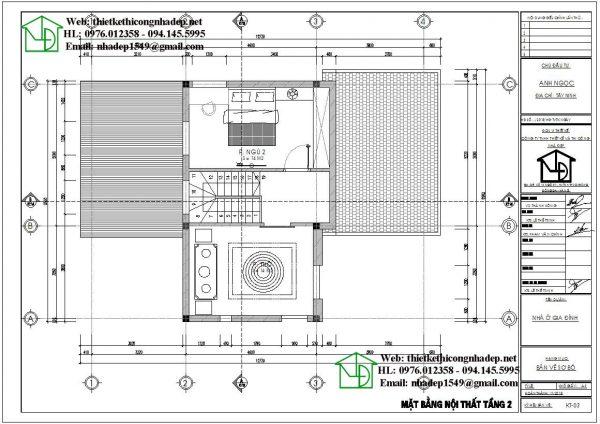 Mặt bằng nội thất tầng 2 biệt thự 2 tầng nhỏ DBT2T61