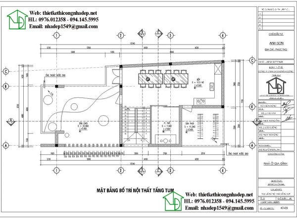 Mặt bằng nội thất tầng 3 NDNP3T22Mặt bằng nội thất tầng 3 NDNP3T22